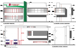 Front and back elevation view of office building dwg file