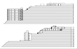 Front and back elevation view of shopping center dwg file