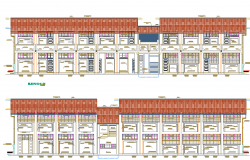 Front and back elevation view of two flooring school details dwg file