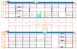 Front and back elevations of Multi-flooring school dwg file