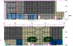 Front and back sectional details of platinum square building dwg file