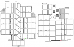 Front and back sectional details of six story residential building dwg file