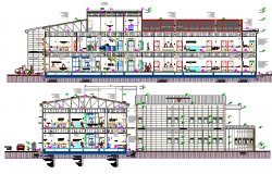 Front and back sectional view details of multi-specialty hospital project dwg file
