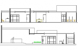 Front and back sectional view of corporate office dwg file
