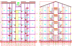 Front and back sectional view of multi-flooring housing building dwg file