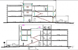 Front and back sectional view of multi-flooring office building dwg file