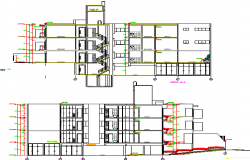 Front and back sectional view of residential apartment building dwg file