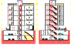 Front and back sectional view of residential housing building dwg file