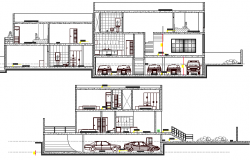 Front and back sectional view of two flooring villa dwg file