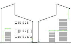 Front and back side elevation details of production house dwg file