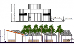 Front and cut elevation view of showroom dwg file