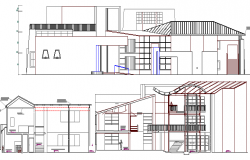 Front and front elevation and section details of government office building dwg file