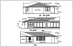 Front & rear elevation, left elevation details with dimension dwg file
