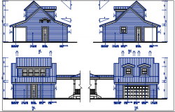 Front and rear elevation details with dimension details dwg file