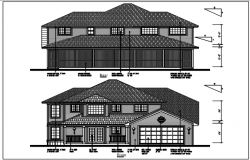 Front and rear elevation details with dimension details dwg files