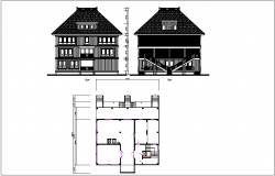 Front & rear elevation view plan layout view of house detail dwg file