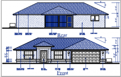 Front and rear elevation view of bungalow dwg file