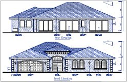 Front and rear plan elevation details dwg file
