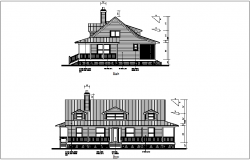 Front and right view of bungalows dwg file