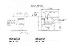 Front and side elevation and toilet sheet installation details dwg file