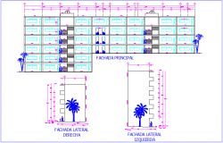 Front and side elevation of school dwg file