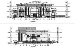 Front and side elevation of villa.