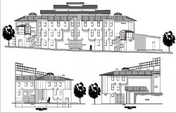 Front and side elevation view of industrial plant dwg file