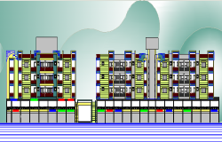 Front and side elevation view of multi-family housing building dwg file