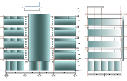 Front and side elevation view of multi-flooring admin office building dwg file
