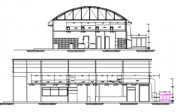 Front and side elevation view of primary school project dwg file