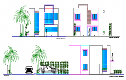 Front and side elevations of paradise villa design dwg file