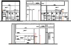 Front and side sectional view details of municipality office dwg file