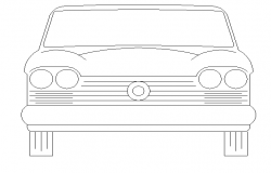 Front car design cad block view dwg file