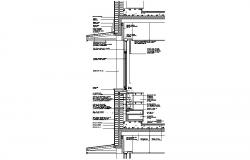 Front constructive section details of house cad drawing details dwg file