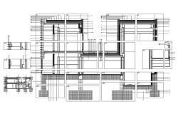 Front constructive section details of office building dwg file