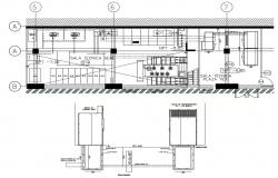 Front constructive sectional details of industrial unit dwg file