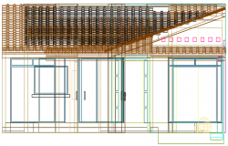 Front elevation 3 D house detail dwg file