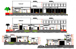 Front elevation & all sided sectional view of primax office building dwg file.