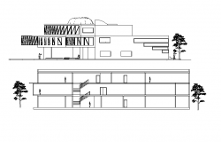Front elevation and back elevation detail dwg file