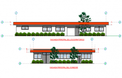 Front elevation and back elevation plan detail dwg file