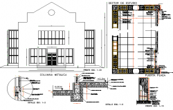 Front elevation and door detail dwg file