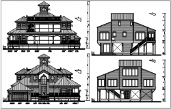 Front elevation and rear elevation, west elevation and east elevation detail with naming with dimension in bungalow details dwg file