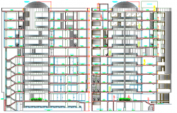 Front elevation and sectional details of shopping mall building dwg file