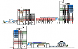 Front elevation and sectional details of shopping mall dwg file