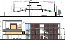 Front elevation and sectional view of corporate office building dwg file