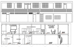 Front elevation and sectional view of two flooring office dwg file