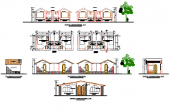 Front elevation and side elevation detail dwg file