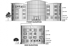 Front elevation and side elevation education centre plan detail dwg file