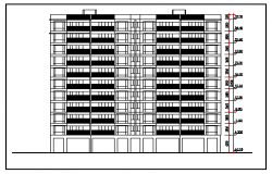 Front elevation design drawing of Armed police residential flat