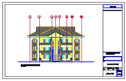 Front elevation design drawing of residential building design drawing
